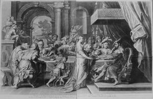 Salome brengt het hoofd van Johannes de Doper naar Herodes en Herodias