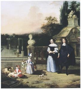 Portret van een onbekende familie in een park