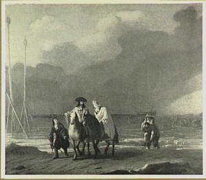 Stadhouder-Koning Willem III en Hans Willem Bentinck op weg door de Oranjepolder naar Honselaarsdijk (31 januari 1691)