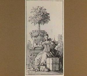Allegorie op de Handel;  rechts de toren van de Grote Kerk van Dordrecht
