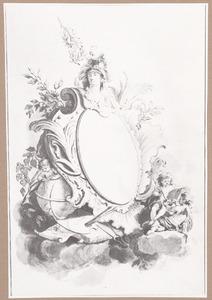 Cartouche met de kop van Minerva, putti en attributen van de kunsten en wetenschappen