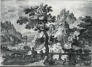 Landschap met een vallei links en een dorp rechts