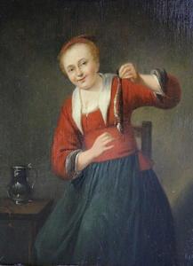 Jonge vrouw met een haring