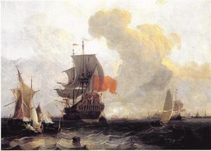 Gezicht op het IJ met het Amsterdamse schip 'De Rhodes'