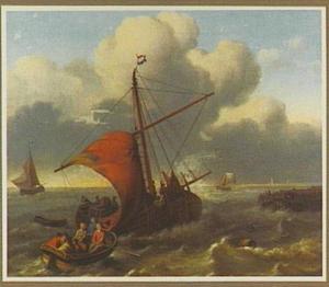 Sloep en beurtschip bij een aanlegplaats