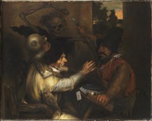 Twee vechtende kaartspelers met de Dood