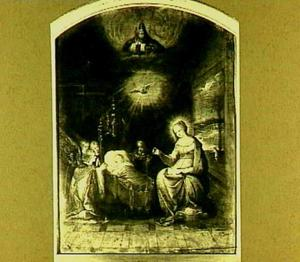 De maagd met het Christuskind in de wieg, aanbeden door engelen