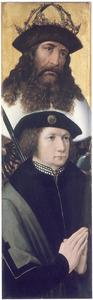 Portret van een stichter met zijn patroonheilige