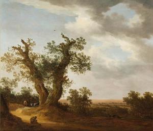 Landschap met twee grote eiken, een herder en koeien