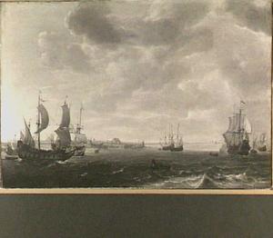 Het vlaggeschip 'Huys van Brederode' van Admiraal Maarten Harpertszoon Tromp (1598-1653) en andere schepen op de Maas voor Brielle