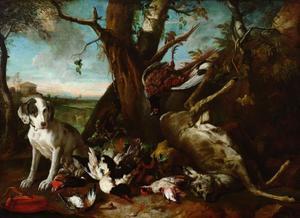 Dood wild bewaakt door een jachthond