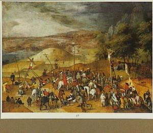 De kruisiging (Golgotha) in een weids landschap