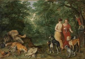 Twee nimfen met jachthonden