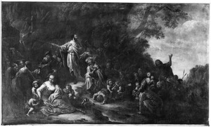 Mozes slaat water uit de rotsen, zodat het volk zijn dorst kan lessen (Exodus 17:6)