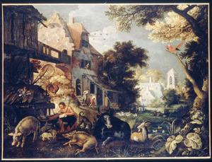 Landschap met de Verloren Zoon, die de varkens hoedt en (op de achtergrond) wordt weggejaagd