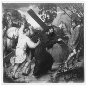 Altaarstuk met de Zeven Smarten van Maria: Kruisdraging (midden, boven)