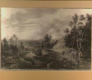 Landschap met jagers bij een rivier