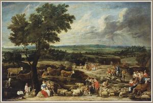 Weids landschap met een veemarkt op de voorgrond, in het midden hooiende boeren en in de verte de stad Antwerpen