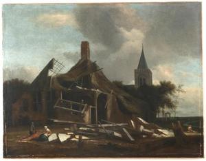 Landschap met een verwoeste boerderij nabij een kerk