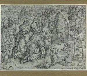 Coriolanus laat zich door de smeekbeden van zijn moeder Veturia en zijn vrouw Volumnia overreden het beleg van Rome op te heffen (Livius 2:40; Plutarchus 12:34-36)