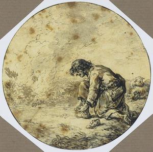 Mozes ontdoet zich van zijn schoeisel voor het brandende braambos (Exodus 3:1-10)