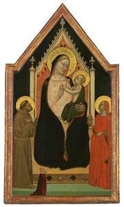 Tronende Maria met kind met Sint Franciscus, Maria Magdalena en een vrouwelijke donor