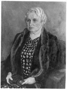 Portret van een oudere dame met bontkraag