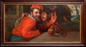 Amoureus paar drinkend aan een tafel (de verloren zoon?)