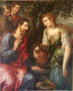 Christus en de Samaritaanse vrouw bij de bron van Jacob