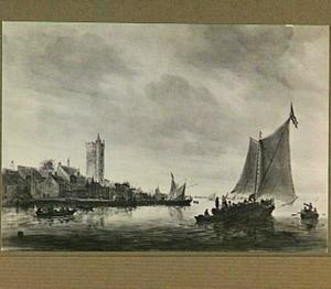 Rivierlandschap; op de linkeroever de Utrechtse Bijlhouwerstoren