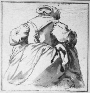 Vrouw van achteren gezien, haar rokken optillend