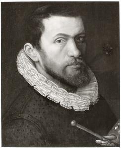 Portret van een man met schildersgerei in de hand