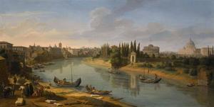 Uitzicht over Rome, rivier de Tiber vanaf Porto della Legna richting Sant' Angelo kasteel en Sint Pieter basiliek