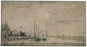 Gezicht over een rivier in de richting van Rotterdam