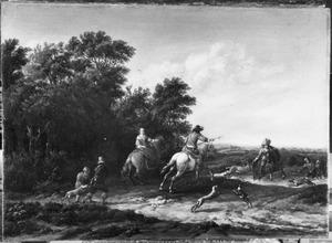 Heuvellandschap met een jachtgezelschap aan een bosrand