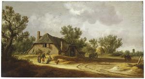 Landschap met boeren bij een boerderij