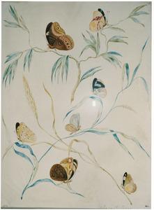 Grote vossenstaart en andere tak (mogelijk wilg) met zeven vlinders