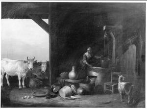 Boeren interieur met een meid bij een waterput en koeien in de deuropening