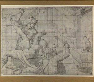 Drie vechtende figuren in een interieur
