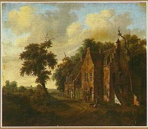 Landschap met figuren voor een landhuis