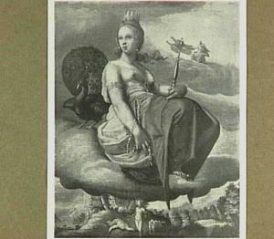 De godin Juno zittend op een wolk. Op de achtergrond doodt Mercurius Argus
