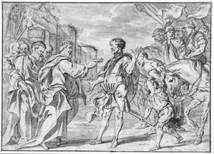 Koning Aeacus van Aegina ontvangt Cephalus als gezant van Athene (Ovidius Metamorphosen 7 : 501)