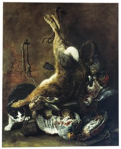 Vooraadkamer met een kat bij een opgehangen haas en gevogelte