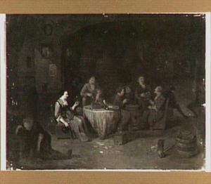 Drinkend en rokend boerengezelschap in een herberg