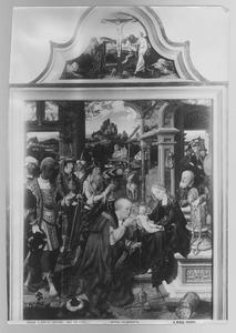 De aanbidding van de Wijzen; De kruisiging (in de lunet)