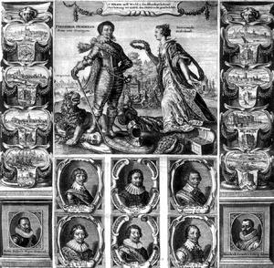 Allegorie met portret van Frederik Hendrik van Oranje-Nassau (1584-1647) en acht andere portretten