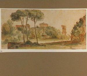 Santo Stefano Rotondo op de Caelius in Rome, op de achtergond een deel van de ruïne van de Acqua Claudia