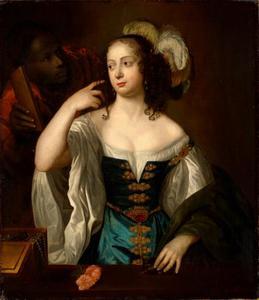 Portret van een vrouw genaamd Sophia prinses van de Palts (1630-1714), met een bediende