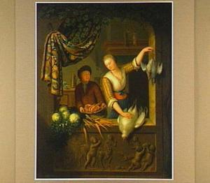 Vrouw en jongen met gevogelte en groente door een venster gezien