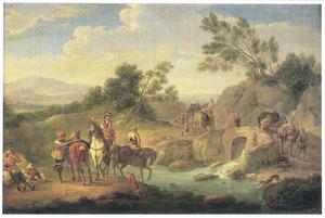 Landschap met jachtgezelschap en reizigers bij een brug